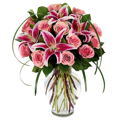 Sophisticated Rose & Stargazer Flower Bouquet for Mother's Day, available online at Ingallina's Gifts
