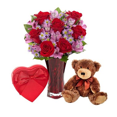 "Valentine's Day bundle: ""Say it with Love"" flower bouquet, plush brown bear and Harry London chocolates"